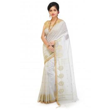 WoodenTant Cotton Silk Zari Saree In White with golden zari work in all over saree.