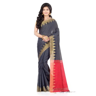 WoodenTant Handloom Cotton Silk Saree In Grey And Red with Temple Border and Pure Zari Buti Work.