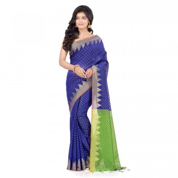 WoodenTant Handloom Cotton Silk Saree In Royal Blue And Green with Temple Border and Pure Zari Buti Work.