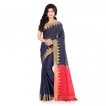 WoodenTant Handloom Cotton Silk Saree In Dark Blue with Temple Border and Pure Zari Buti Work.