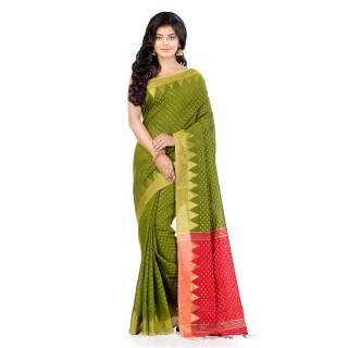 WoodenTant Handloom Cotton Silk Saree In Light Green with Temple Border and Pure Zari Buti Work.