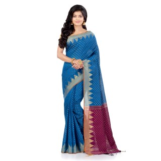 WoodenTant Handloom Cotton Silk Saree In Light Blue with Temple Border and Pure Zari Buti Work.