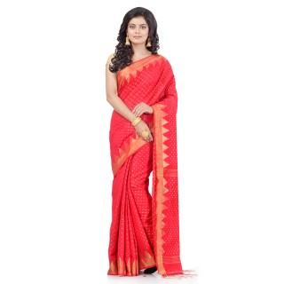 WoodenTant Handloom Cotton Silk Saree In Red with Temple Border and Pure Zari Buti Work.