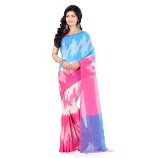 WoodenTant Women's Pure Cotton Handloom Khadi Saree In Multicolor With Ikkat Design