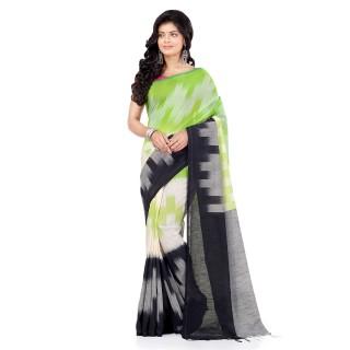 WoodenTant Women's Pure Cotton Handloom Khadi Saree In Multicolor With Ikkat Design.