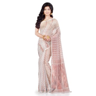 WoodenTant Women's Cotton Silk Soft Dhakai Jamdani Handloom Saree In White With Temple Border And Zari Work