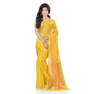 WoodenTant Women's Cotton Silk Soft Dhakai Jamdani Handloom Saree In Yellow With Temple Border And Zari Work