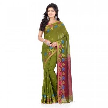 WoodenTant Women's Handloom Cotton Silk Saree In Green With Zari Border.