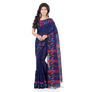 WoodenTant Handloom Cotton Silk Fashion Saree In Navy Blue with Leaves Design In All Over The Border