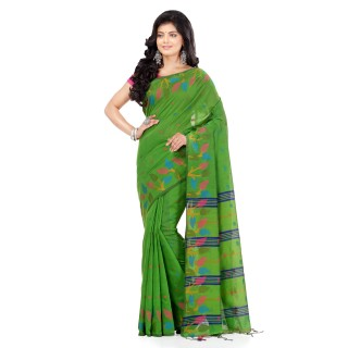 WoodenTant Handloom Cotton Silk Fashion Saree In Green with Leaves Design In All Over The Border