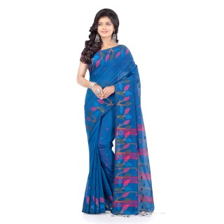 WoodenTant Handloom Cotton Silk Fashion Saree In Aqua Blue with Leaves Design In All Over The Border