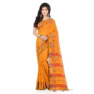 WoodenTant Handloom Cotton Silk Fashion Saree In Yellow with Leaves Design In All Over The Border