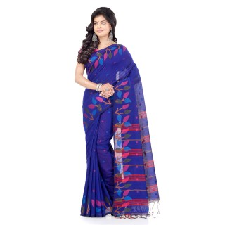WoodenTant Handloom Cotton Silk Fashion Saree with In Royal Blue Leaves Design In All Over The Border