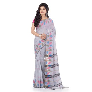 WoodenTant Handloom Cotton Silk Fashion Saree In Silver with Leaves Design In All Over The Border.