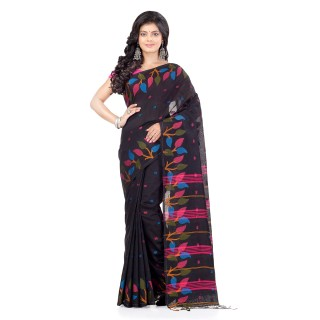 WoodenTant Handloom Cotton Silk Fashion Saree In Black with Leaves Design In All Over The Border