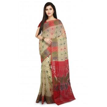 2607880311 Dhakai Jamdani Handloom Saree In Beige With Multicolor Thread work