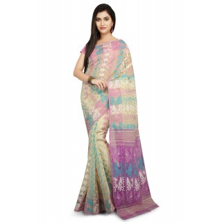 Dhakai Jamdani Handloom Saree In Beige With Multicolor Thread Work.
