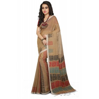 Handloom Cotton Silk Saree in Brown