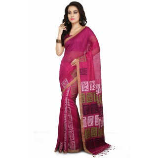 Handloom Cotton Silk Saree in pink