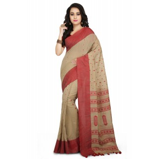 Handloom Cotton Khadi saree in Beige with Red Border