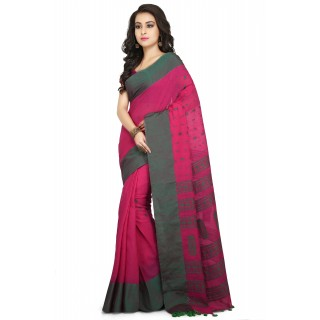 Handloom Cotton Khadi saree in pink with Green Border