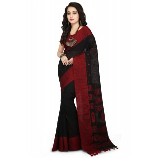 Handloom Cotton Khadi saree in Black with Red Border