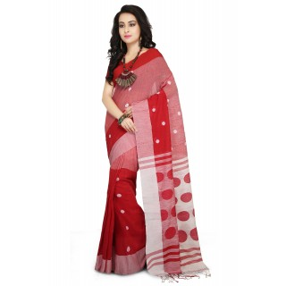 Handloom Cotton Khadi saree in Red