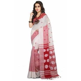 Handloom Cotton Khadi saree in White