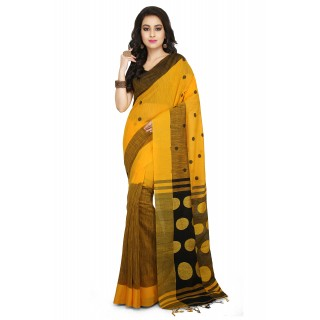 Handloom Cotton Khadi saree in Yellow