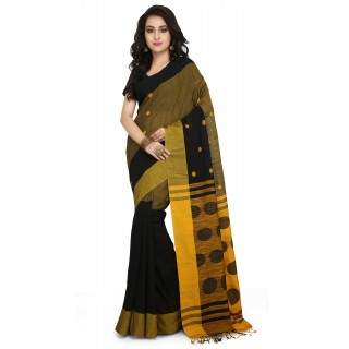 Handloom Cotton Khadi saree in Black