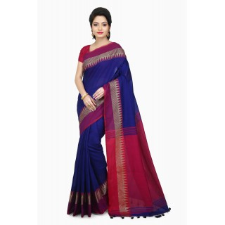 WoodenTant Women's Woven Cotton Silk Handloom Saree in Blue Free Size