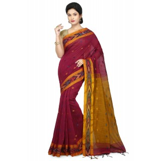 WoodenTant Women's Woven Cotton Silk Handloom Saree in Pink Free Size