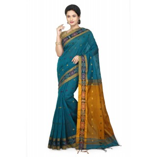 WoodenTant Women's Woven Cotton Silk Handloom Saree in Light Blue Free Size