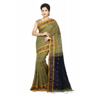 WoodenTant Women's Woven Cotton Silk Handloom Saree Beige Free Size