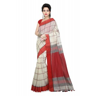 WoodenTant Women Handloom Checkered pure Cotton Saree in Red Free Size