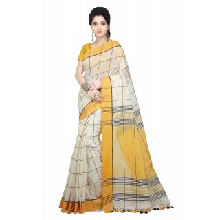 WoodenTant Women Handloom Checkered pure Cotton Saree in Yellow Free Size