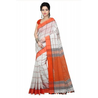 WoodenTant Women Handloom Checkered pure Cotton Saree in Orange Free Size