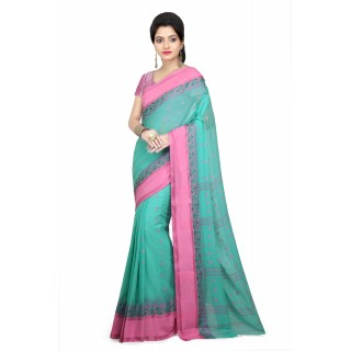 WoodenTant Women's Soft Cotton Tant Saree without Starch In Light Green with Complementary Matching Unstitched Blouse Piece
