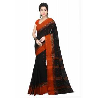 WoodenTant Women's Soft Cotton Tant Saree without Starch In Black with Complementary Matching Unstitched Blouse Piece