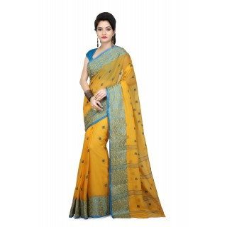 WoodenTant Women's  Cotton Tant Saree with Starch In Yellow