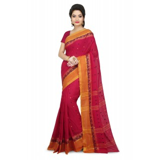WoodenTant Women's Soft Cotton Tant Saree without Starch In Pink with Complementary Matching Unstitched Blouse Piece
