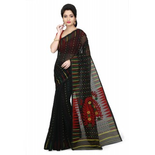 WoodenTant Women's Cotton Silk Soft Dhakai Jamdani Handloom Saree in Black With Temple Border