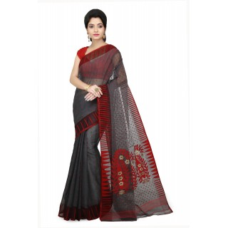 WoodenTant Women's Cotton Silk Soft Dhakai Jamdani Handloom Saree in Grey With Temple Border
