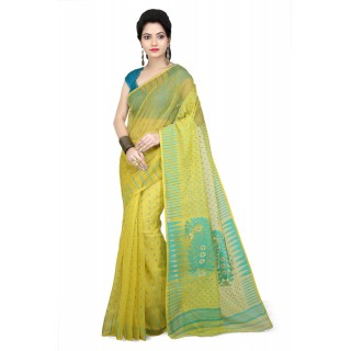 WoodenTant Women's Cotton Silk Soft Dhakai Jamdani Handloom Saree inYellow With Temple Border