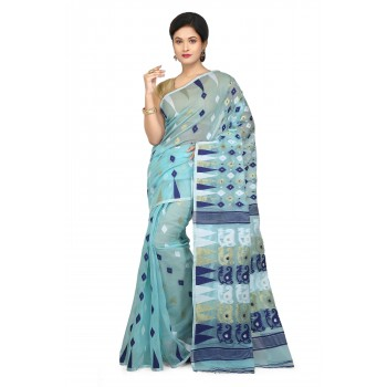 WoodenTant Women's Cotton Silk Soft Dhakai Jamdani Saree In Blue with Temple Border