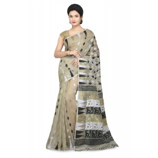 WoodenTant Women's Cotton Silk Soft Dhakai Jamdani Saree In Beige with Temple Border