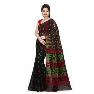 WoodenTant Women's Cotton Silk Soft Dhakai Jamdani Saree In Black with Temple Border
