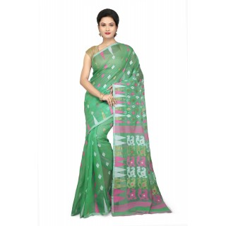 WoodenTant Women's Cotton Silk Soft Dhakai Jamdani Saree In Green with Temple Border