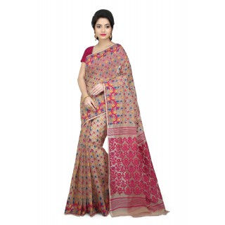 Woodentant Women's Soft Cotton Silk Dhakai Jamdani Saree In Beige-Pink With Thread Work
