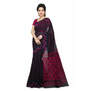 Woodentant Women's Soft Cotton Silk Dhakai Jamdani Saree In Black-Pink With Thread Work